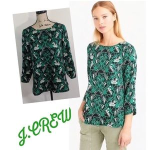 J Crew Women's Blouse Green Floral 3/4 Sleeve Top